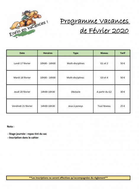 Programme vacances fevrier 2020