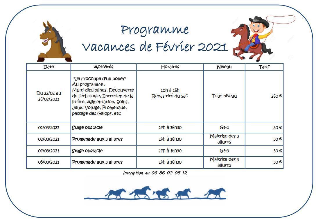 Vacances de février 2021