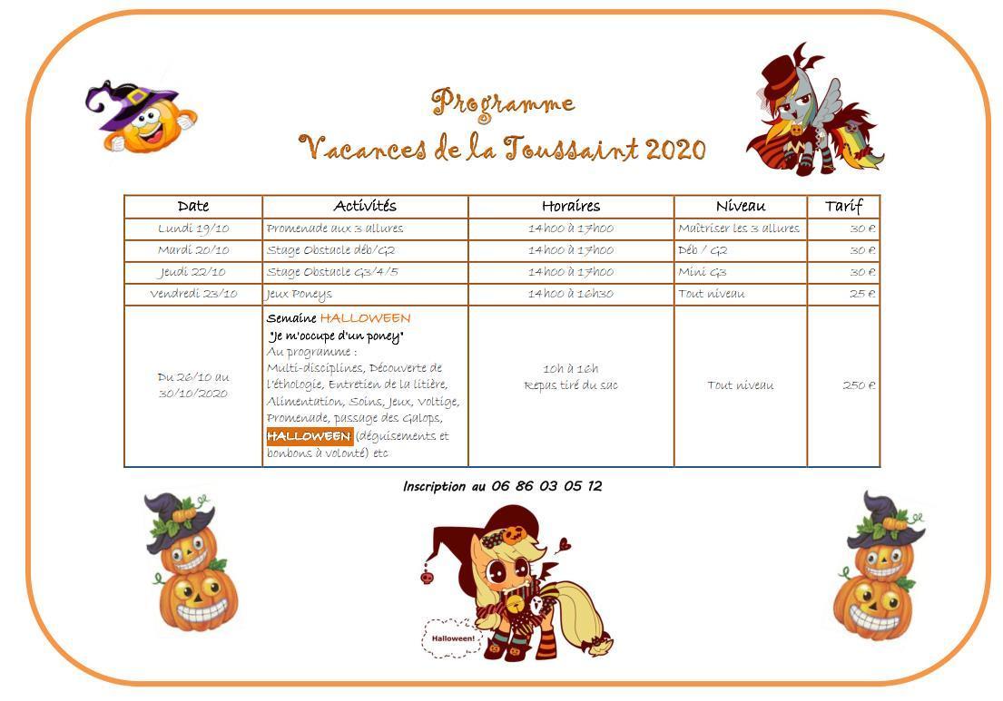 Vacances de la Toussaint 2020